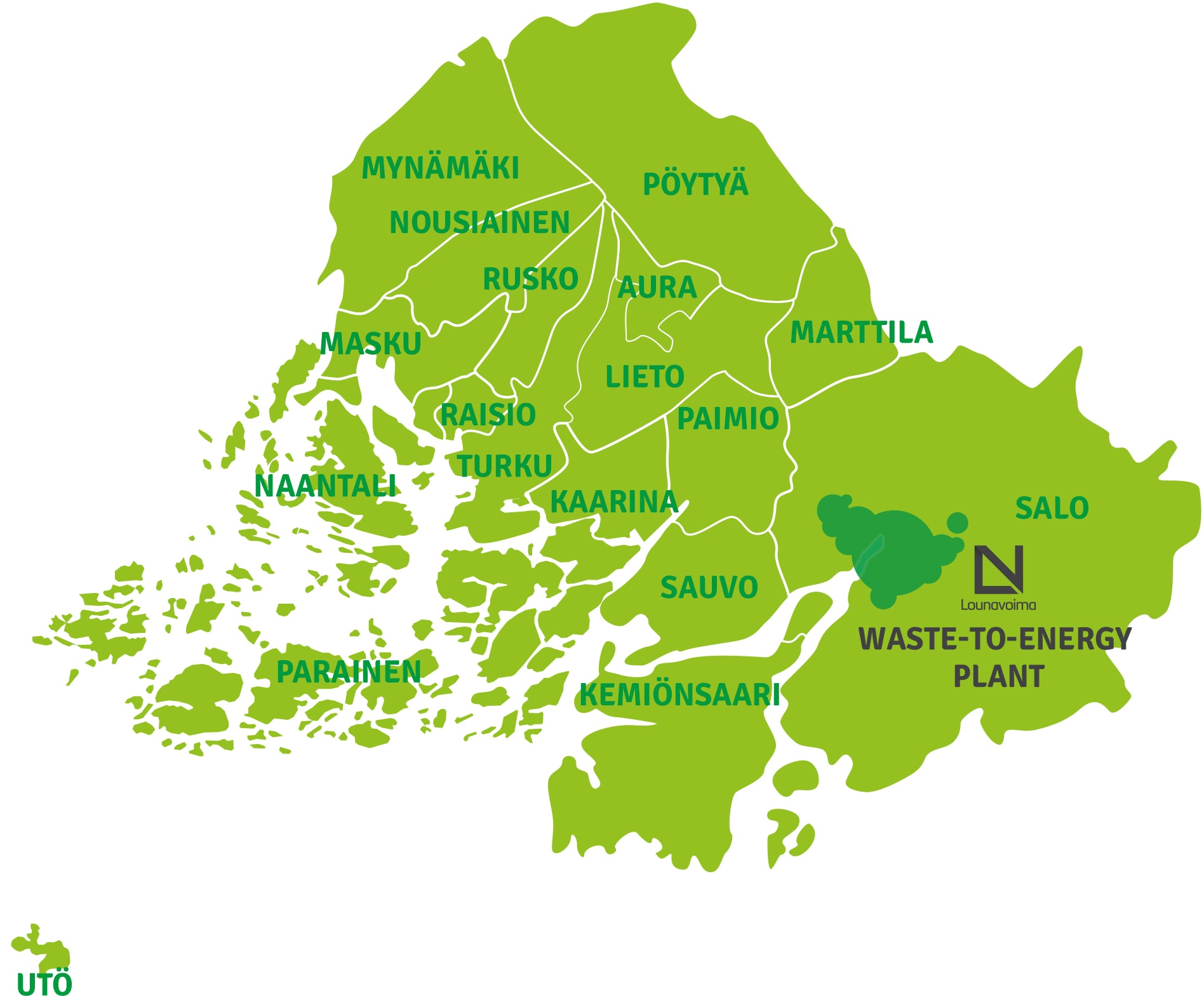 Lounavoima Oy's task is to arrange the utilization of non-recyclable municipal waste collected by Lounais-Suomen Jätehuolto Oy in 17 municipalities for energy.